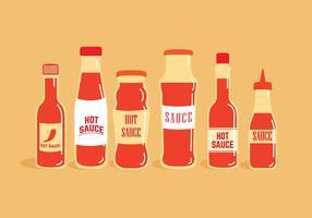 Vecteurs de bouteilles de sauce chaude
