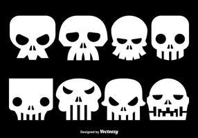 Silhouettes de crâne blanches vecteur