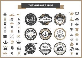 rétro marron et noir premium, ensemble de logos de qualité