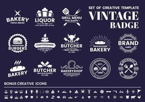 Vintage blanc sur bleu boucher, boulanger, ensemble de logos de café vecteur