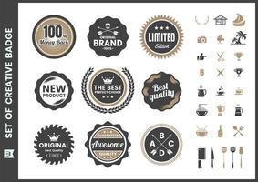 ensemble de badges rétro de qualité