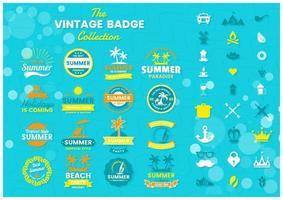insignes d'été tropicaux sur bleu vecteur