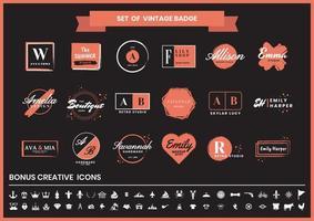 ensemble de logos de mode, studios et design vintage rouge et noir vecteur