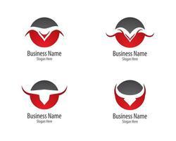 collection de modèles de logo de symbole de taureau vecteur