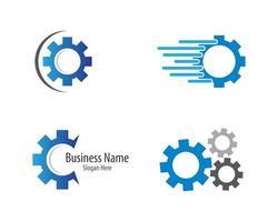 jeu d'icônes de logo de machines à engrenages vecteur