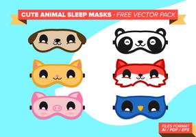Mignon masque de sommeil pour animaux pack gratuit de vecteur