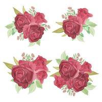 ensemble de bouquet de fleurs rose aquarelle vecteur