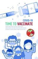 Covid-19 contre une affiche publicitaire sur un vaccin. vecteur