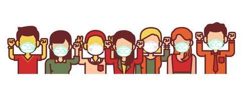 personnes portant un masque médical vecteur
