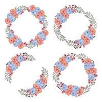 ensemble de couronne de fleurs bleu rose aquarelle coloré vecteur