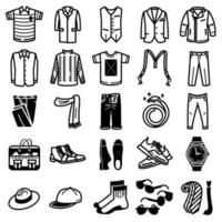 jeu d'icônes de vêtements homme vecteur