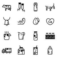 jeu d'icônes de lait et de produits laitiers vecteur