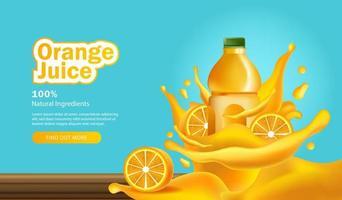 publicité de jus d'orange avec des bouteilles 3d vecteur