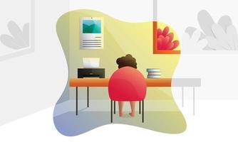 étude à l'illustration de concept de bureau à domicile