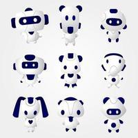 jeu d'icônes de robot mignon de forme moderne vecteur