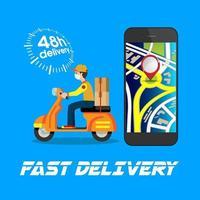 affiche de livraison avec homme sur scooter et téléphone