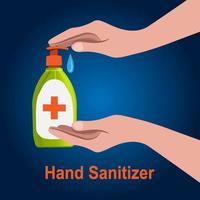main de style dessin animé à l'aide de désinfectant pour les mains vecteur