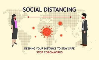homme et femme distance sociale et carte du monde vecteur