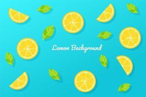 tranches de citron de style dessin animé sur bleu
