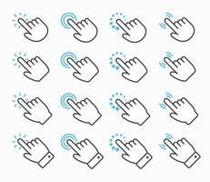 jeu d'icônes de curseur main vecteur