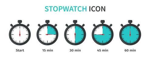 jeu d'icônes de chronomètre vecteur