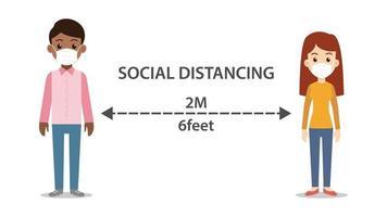 distance sociale homme et femme portant des masques vecteur
