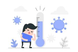 garçon de dessin animé malade avec le virus