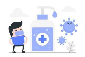 homme de dessin animé contre le virus avec un désinfectant pour les mains