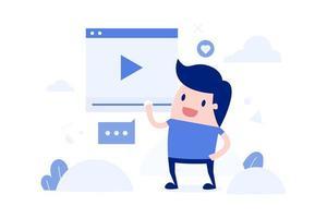 homme de dessin animé en streaming vidéo en direct vecteur