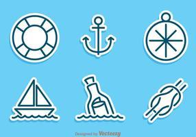 Ensemble vectoriel d'autocollant nautique