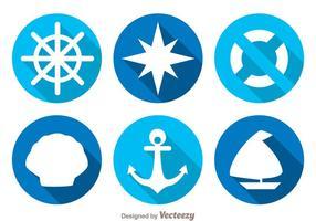 Icônes d'ombre longue et nautique vecteur