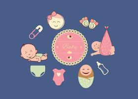 Ensemble d'icônes de bébé vecteur