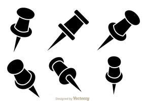 Poussoir icônes noir vecteur
