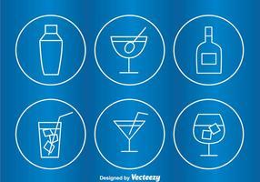 Icônes de contour du cercle de cocktail