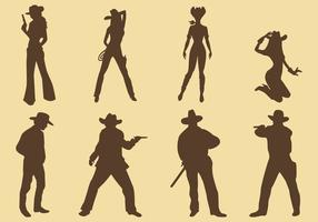 Cowgirls and Cowboy Silhouettes vecteur