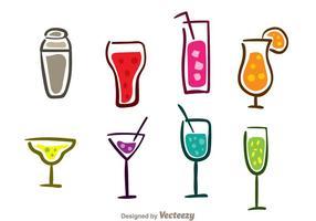 Icônes de cocktails colorés vecteur