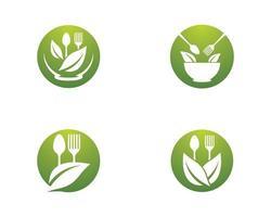 ensemble de logo de nourriture biologique vecteur