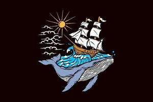 baleine transportant navire dessiné à la main vecteur