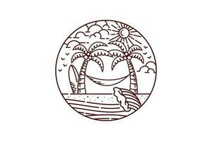 dessin au trait paysage de plage vecteur