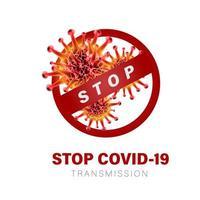 affiche de la transmission stop covid-19