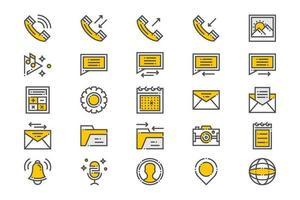 icônes d'applications essentielles mobiles jaunes vecteur