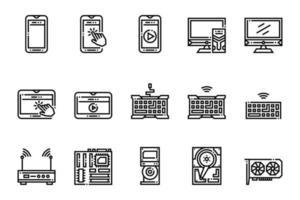 icônes de périphériques informatiques et technologiques