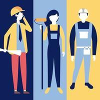 jeu de caractères des travailleurs de la construction