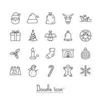 jeu d'icônes de Noël doodle vecteur