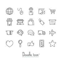 jeu d'icônes de doodle e-commerce