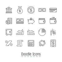jeu d'icônes financières doodle