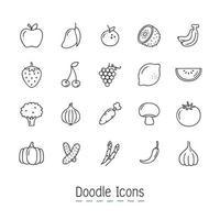 jeu d'icônes de fruits et légumes doodle vecteur