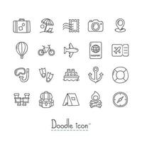 jeu d'icônes de voyage doodle vecteur