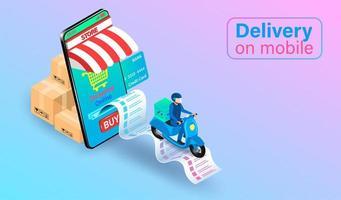livraison de scooter mobile vecteur