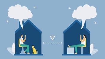 distanciation sociale avec la technologie des smartphones vecteur